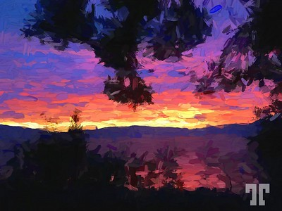 flathead-lake-sunset-red-paint-abstract