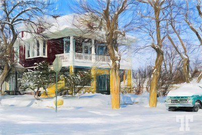 Roundup-montana-historic-mansion-Colored-pencil-bright