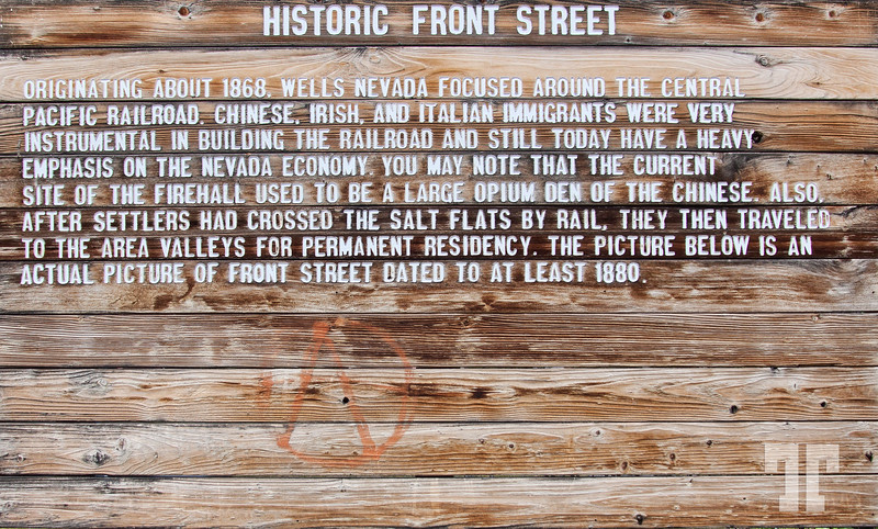 Historic front street sign in Wells, Nevada