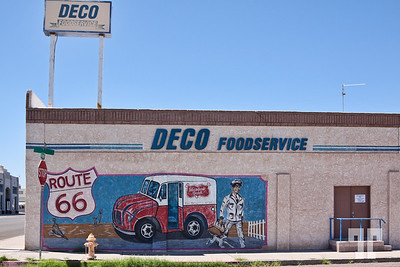 Deco FoodService vintage sign and mural on Route 66, Needles, California
