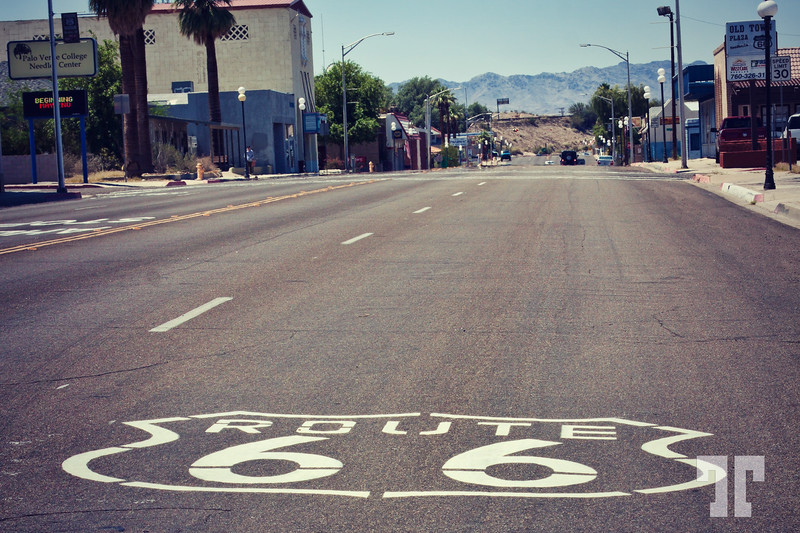 Route 66 street sign in Needles, California