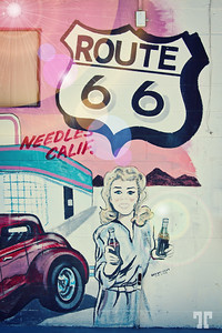 Route 66 vintage sign in Needles, California