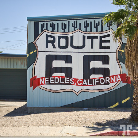 Route 66 garage sign in Needles, California