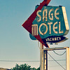 Sage Motel vintage sign on Route 66, Needles, California