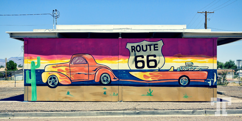 Route 66 sign and mural in Needles, California