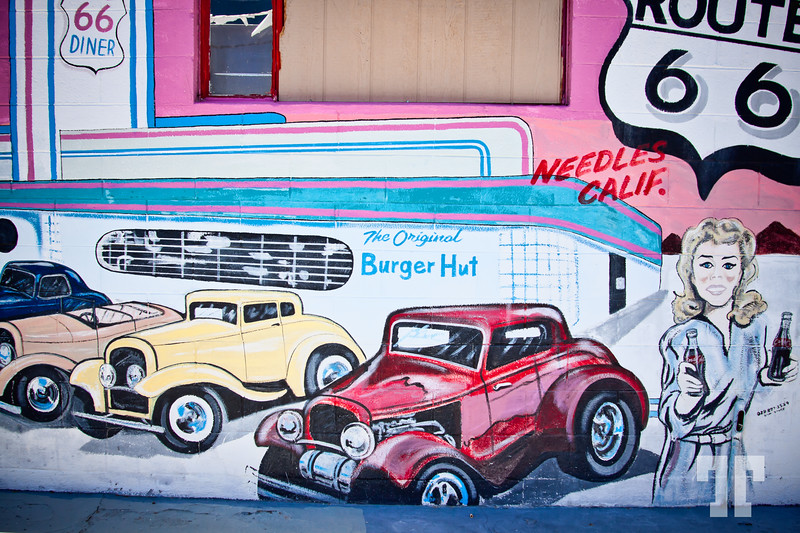 Route 66 vintage sign and mural in Needles, California