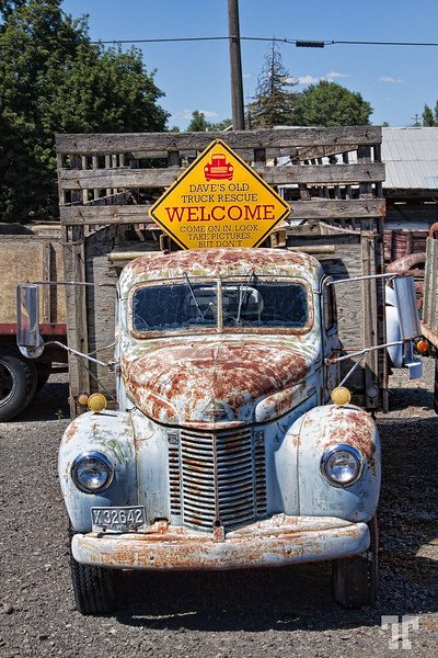 Old truck and sign in Sprague, Washington
