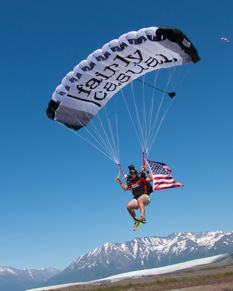 Flying the U.S. Flag onto the Glacier in Alaska