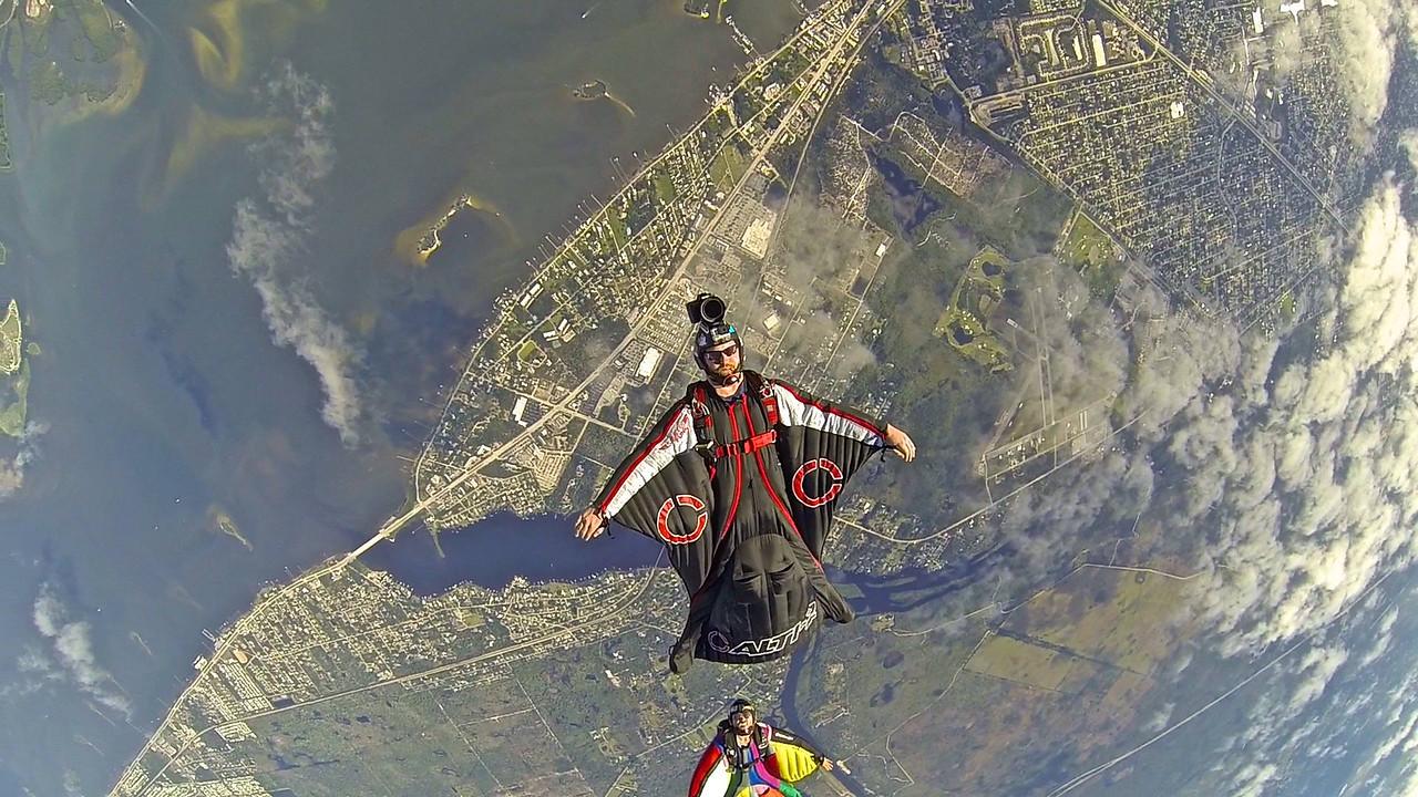 Wingsuit Backflying over Sebastian, FL Inlet