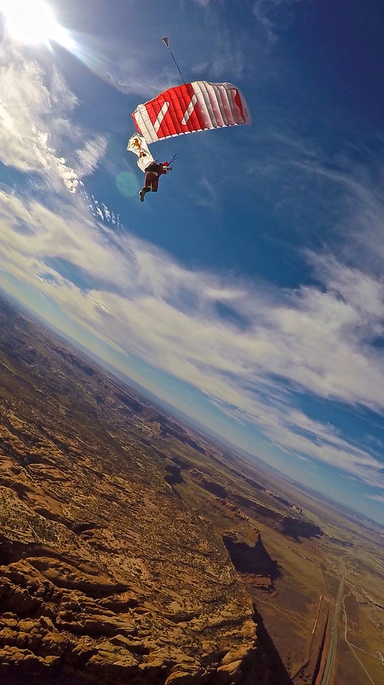 Santa jumps into canyons in MOAB, UT