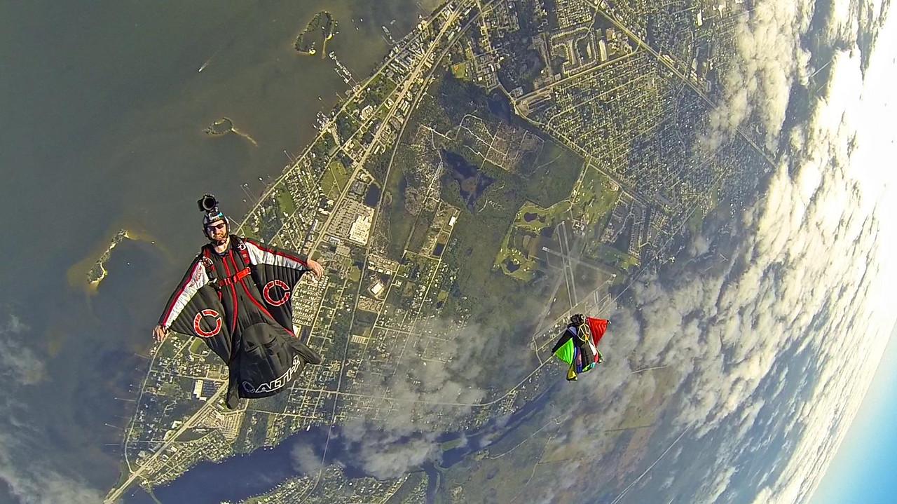 Back flying over Sebastian Coastline