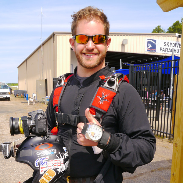 Curt Vogelsang filming Tandem's at Skydive Carolina.