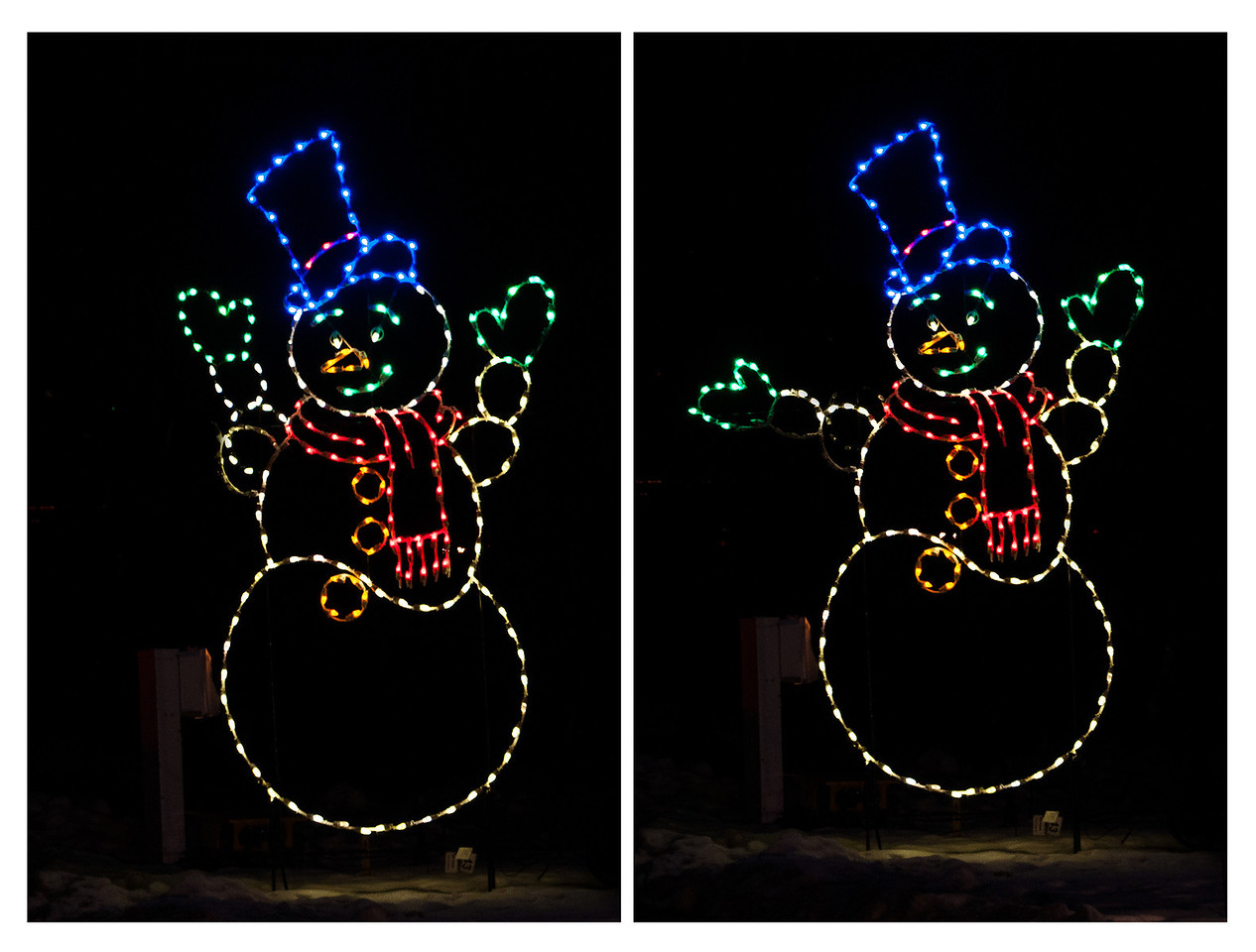 Here's Frosty the Snowman waving at us.  (These are different photos showing the two positions of the arm which made it look animated.)