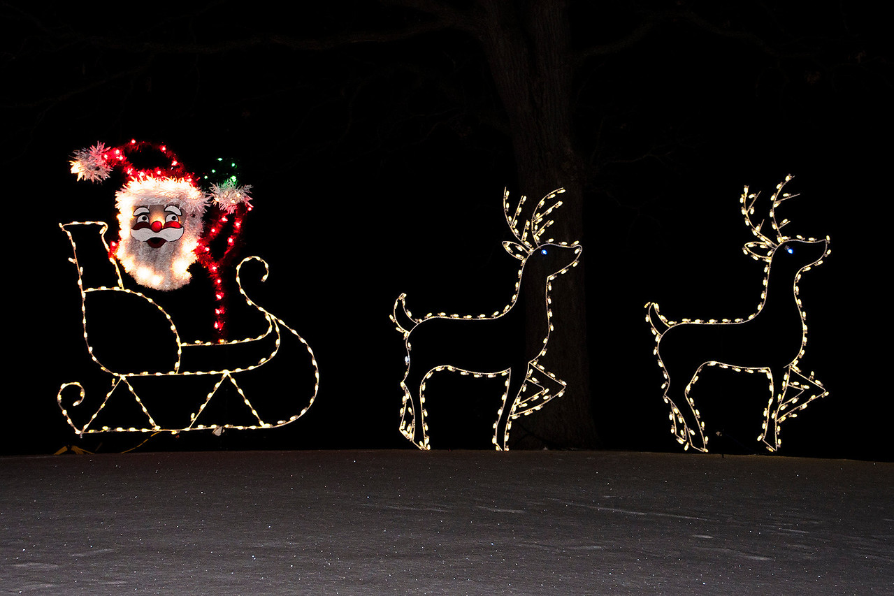 For the holiday season, members of the International Brotherhood of Electrical Workers set up a colorful display of lights in Phalen Park which is located in St. Paul, MN.  Diana and I went to see it this week.  Here's Santa and a couple of his reindeer.