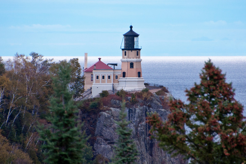 One morning during our trip to the North Shore, I drove to a scenic overlook where you can see Split Rock Lighthouse.  I like the view from this overlook because it is at the same level as the lighthouse.  The cliff on which the light house is built is 130 feet above the water.  From 1910 to 1969, ships on Lake Superior depended on Spilt Rock to aid them in navigating the sometimes treacherous waters.  In 1969, Split Rock was decommissioned because more advanced navigation tools were then in use.