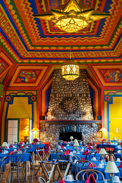 Our photography class stopped at Naniboujou Lodge which is about 10 miles northeast of Grand Marais, MN.  The lodge was built in the 1920s and is on the National Register of Historic Places.  Its dining room, shown here, is known for the colorful walls and ceiling and the massive stone fireplace.