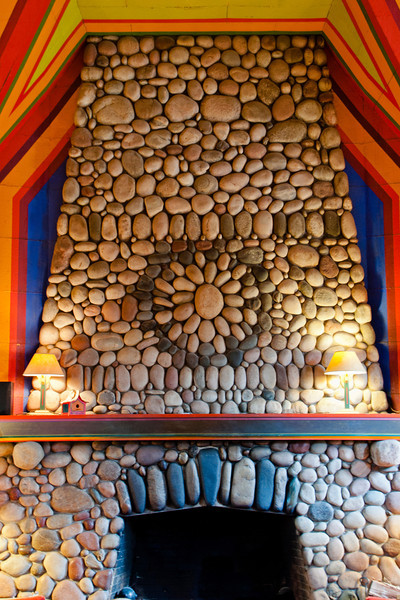 "The lodge website calls the 200 ton fireplace ""Minnesota's largest native rock fireplace.""  It stands 20 feet high and dominates the 30 x 80 foot dining room."