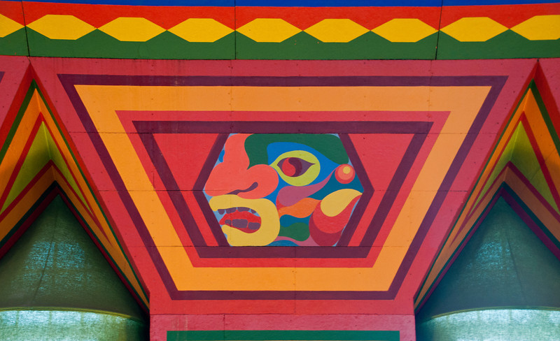 Here's one of the Cree Indian designs painted on the walls near the ceiling.