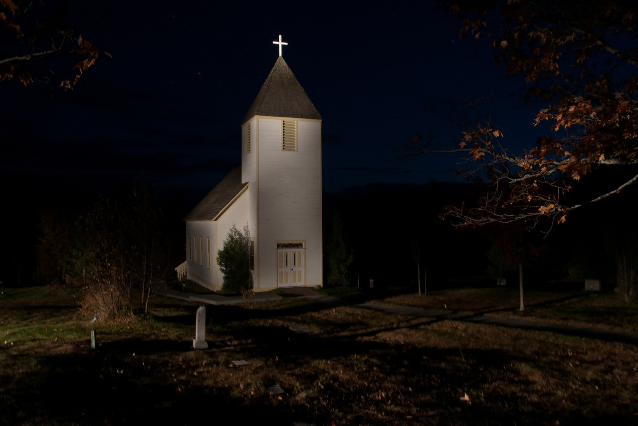 """Our instructor, Layne Kennedy, had a powerful hand-held spotlight.  He used it to """"paint"""" the church and this is the resulting photo."""