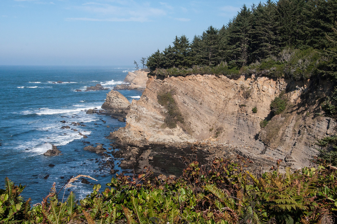 This is a typical scene along the rugged Oregon coastline.  Steep cliffs like this one are very common and you often see large rock formations out in the water.  This photo was taken at Simpson's Reef near Charleston, Oregon.