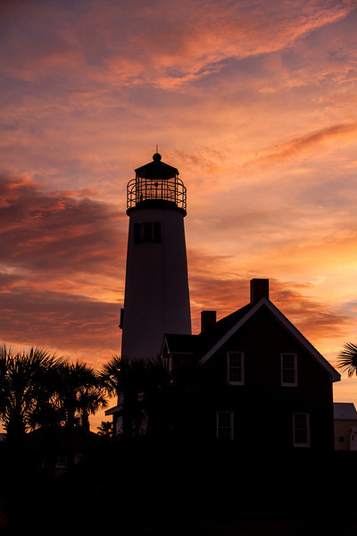 I spent many mornings on St. George Island trying to get a nice sunrise photo of the lighthouse.  I kept missing the shot because either the sky was completely clear or it was completely covered with clouds.  Finally, near the end of our stay, the perfect combination of clouds and clear sky produced this shot for me.