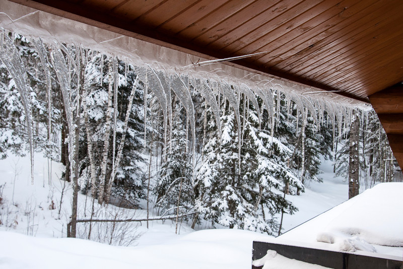Here's the view from another window on the back of the house.  Several icicles are parallel to the ground!  The melting and freezing has provided us with some very interesting icicle patterns this year.