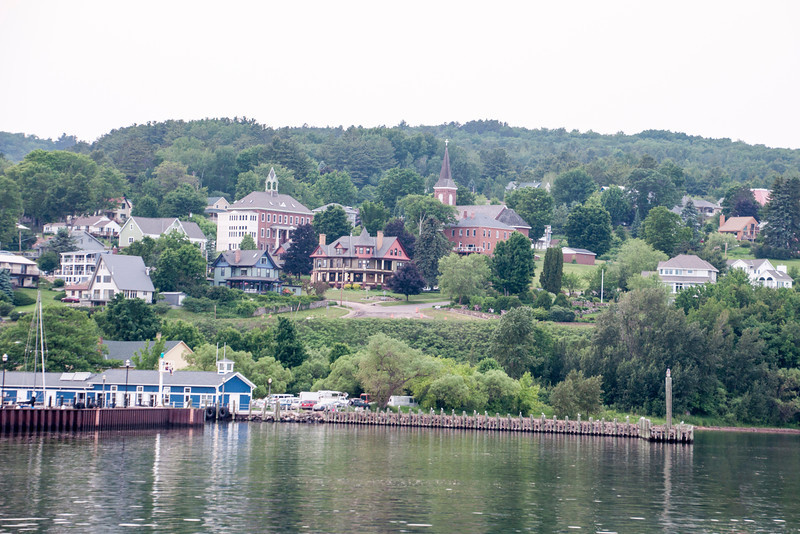 During the week Diana and I were in Bayfield, Wisconsin, we took a boat tour around the Apostle Islands.  There are 21 islands in the Apostle Islands National Lakeshore.  Here's a view of Bayfield from the water.