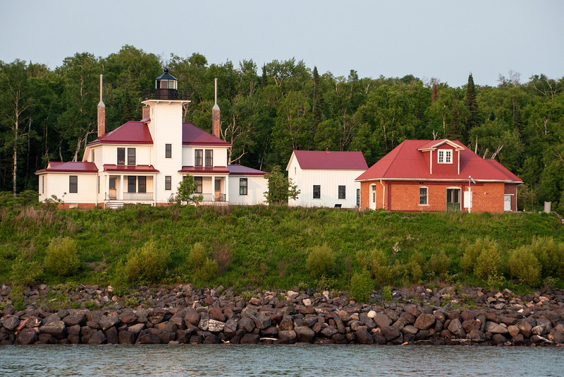 One of the most famous lighthouses on the islands is this one on Raspberry Island.  It was the second light station built in the islands and began operating in 1864.  The main building provided living quarters for two light keepers and their families; one on each side of the light tower.