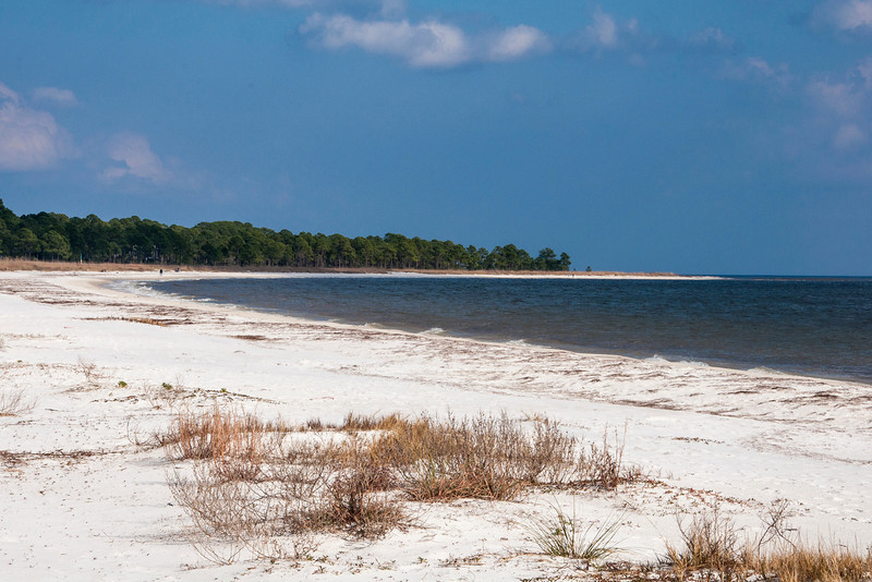 Here's what the beautiful white sand beach looks like at Carrabelle Beach, Florida.