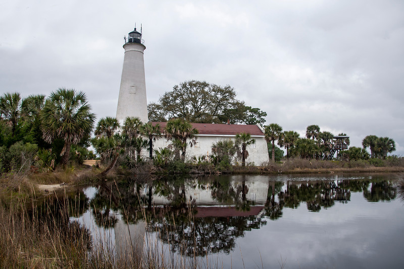 This is the St. Marks lighthouse, located at the end of the wildlife drive.  It was built in 1842 and is still in use today.