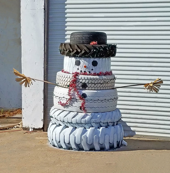 When you don't get actual snow, this is a very creative way to make a snowman.  I especially like the palm frond arms.