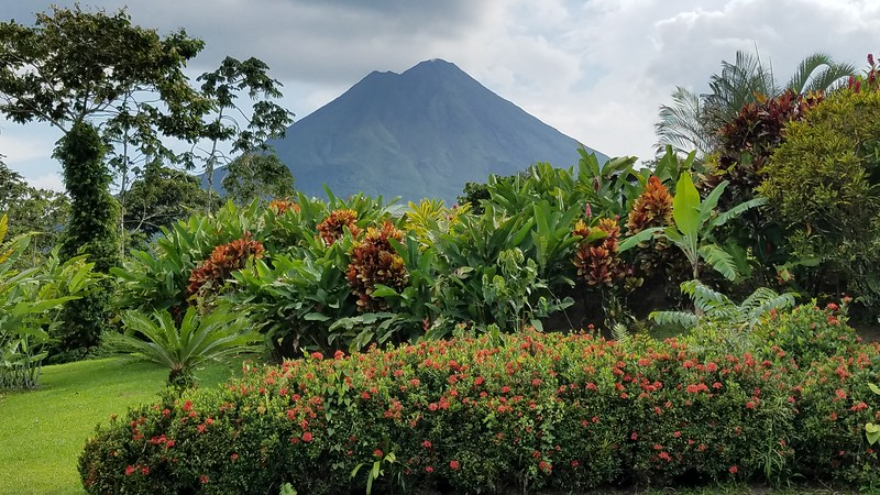 We had a great view of the famous Arenal Volcano when we stayed at the Arenal Manoa Hotel.  When we arrived, our guides told us to quickly get our photos because the volcano was unobstructed by clouds.  Sure enough, we stayed there for three days and never had a clear view again.