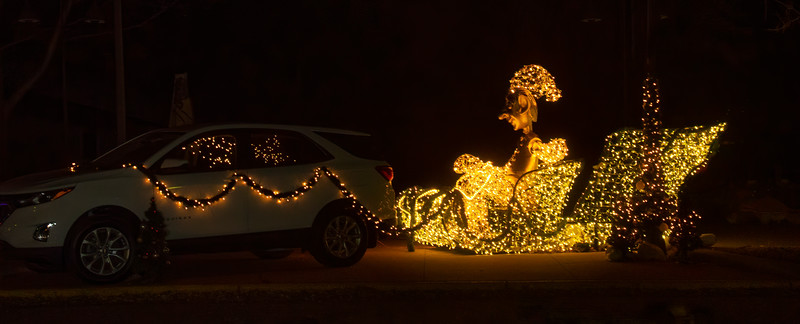 Here's Santa's sleigh being driven by one of the elves.  However, the last time I read the story, Santa's sleigh was not being pulled by a car!