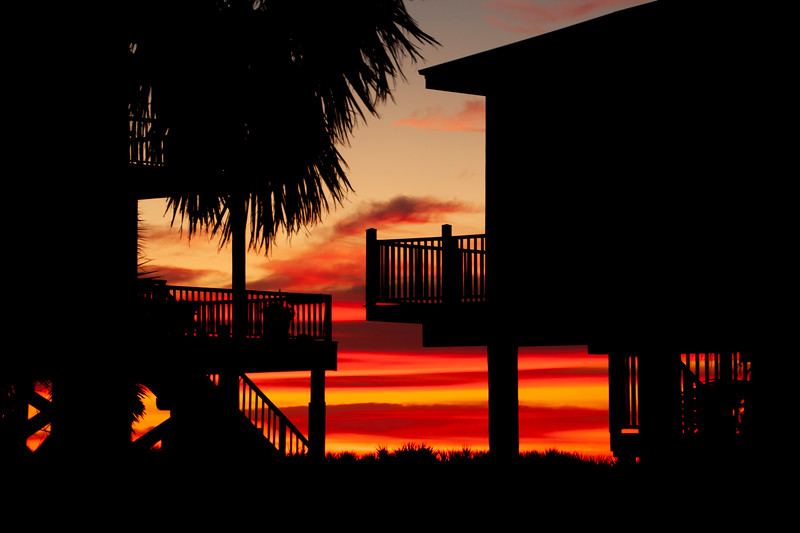 Two of the houses on the beach provided a nice frame for the sunrise I mentioned above.