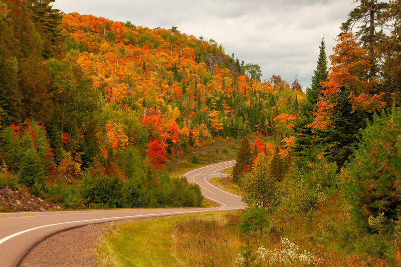 This past week, Diana and I took a trip to the North Shore and spent three days in Grand Marais, MN.  Fall color season has begun, and here are some photos from that trip.  This is a view from the Caribou Trail which runs north from the town of Lutsen, MN.