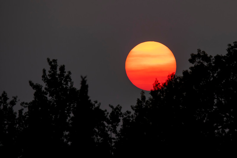 This summer, many parts of the United States experienced smoky skies as a result of wildfires on the west coast and in Canada.  That gave a reddish look to the setting sun.