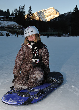 Clare on her sled at Banff Springs