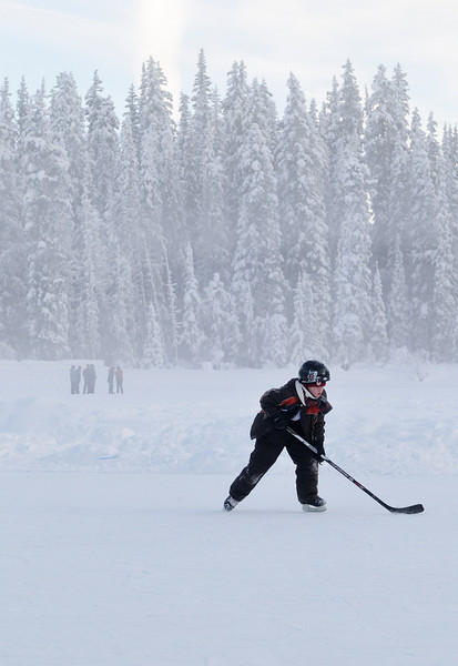 Conor skating on Lake Louise, he was playing in a pickup game.