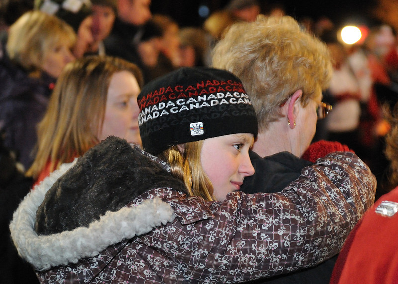 Clare in the crowd, hugging her grandma.