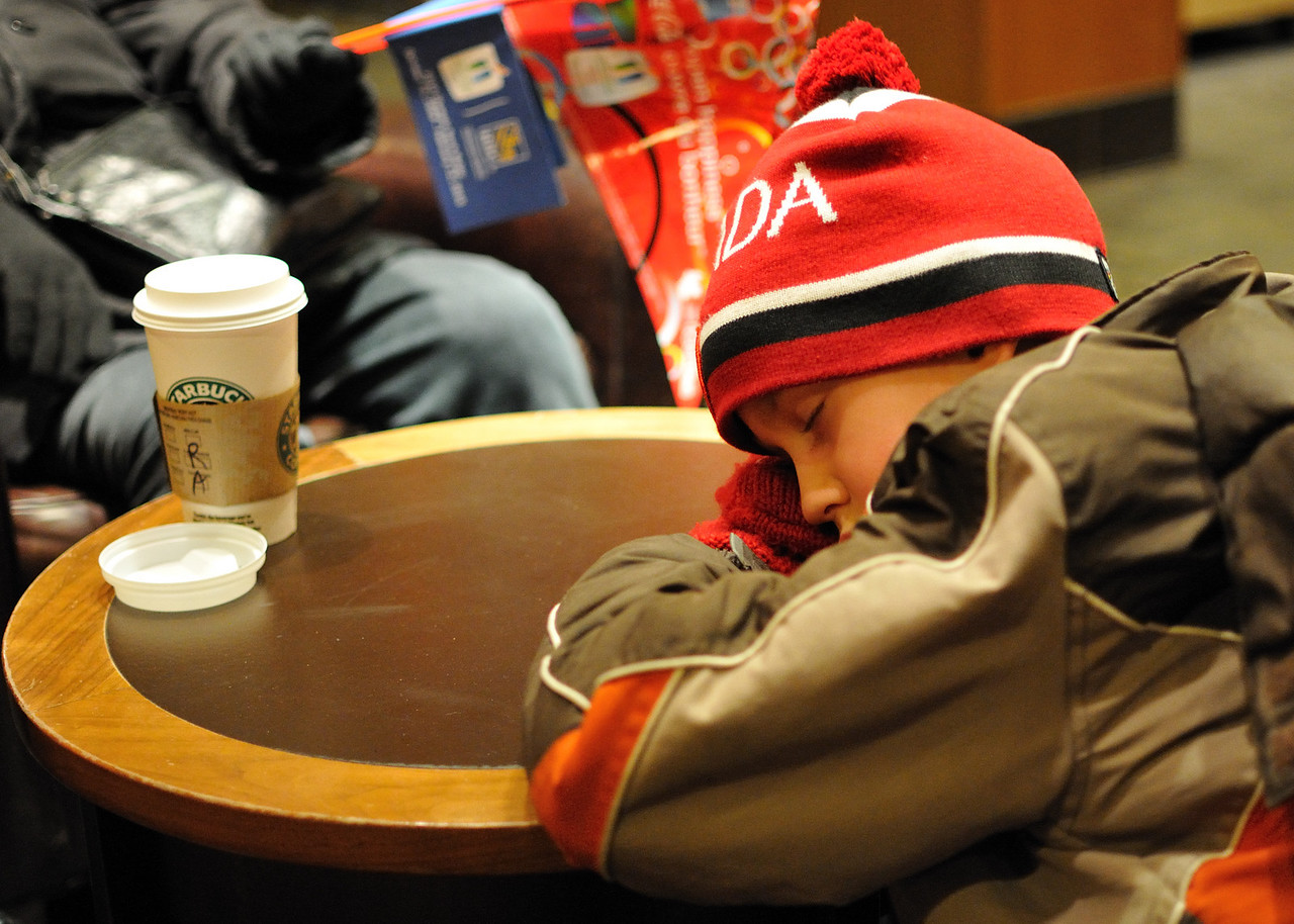 Conor asleep at Starbucks at the end of a LONG day