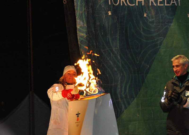 Karen Percy-Lowe lights the Olympic cauldron