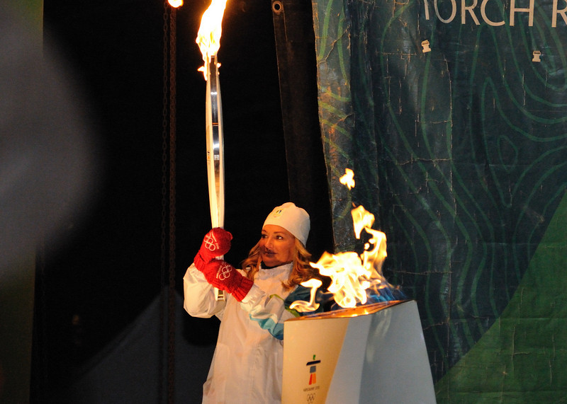 Karen Percy-Lowe at the Banff Olympic cauldron