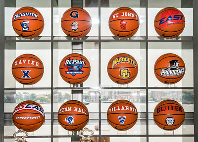 Basketball display with view of the Hudson River and New Jersey.