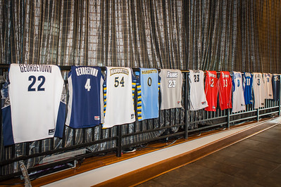 A series of jerseys from the conference on display.