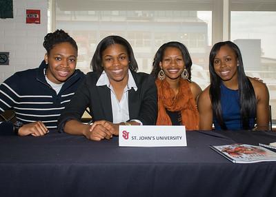 Amber Thompson, Keylantra Langley, Briana Brown, Eugenia McPherson; St. John's University.