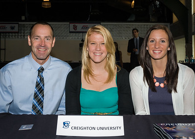 Head Coach Jim Flanery, Sarah Nelson, Marissa Janning; Creighton University.