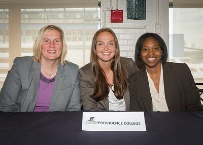 Head Coach Susan Robinson Fruchtl, Evi Iiskola, Tori Rule; Providence College.
