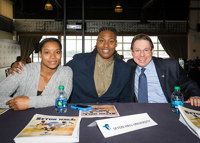 Ka-Deidre Simmons, Brittany Webb, Head Coach Tony Bozzella; Seton Hall University.
