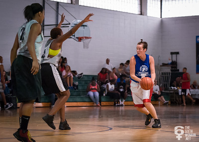 Alyse Pecoraro, Candice Abellard, Mallory Williams NYWAL Invitation Tournament: Third Place Game: Havoc (Grey) 50 v. NYC Gay Basketball League (Blue) 49, Alfred E. Smith Recreation Center, New York, NY. August 25, 2012.