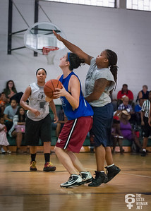 Colette Lelchuk, Robyn Mumford NYWAL Invitation Tournament: Third Place Game: Havoc (Grey) 50 v. NYC Gay Basketball League (Blue) 49, Alfred E. Smith Recreation Center, New York, NY. August 25, 2012.